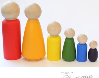 Rainbow Peg Doll Family of 6, Hand Painted, Little People, Educational Toy, Wooden Toy, Rainbow Colours, Peg Dolls, Pegdoll