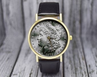 Morgan Dollar Watch | Coin Watch | Leather Watch | Ladies Watch | Men's Watch | Gift for Coin Collector | Birthday | Wedding | Gift Ideas