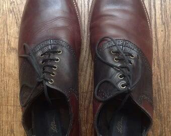 Vintage LL Bean oxblood black leather lace up saddle shoes US size 10 rockabilly