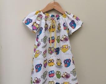 Cute owl dress, baby girl dress , pretty seaside dress size 18-24 months . Handmade short sleeve dress .