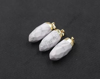 Howlite Pendants -- With Electroplated Gold Edge Charms Wholesale Supplies YHA-257