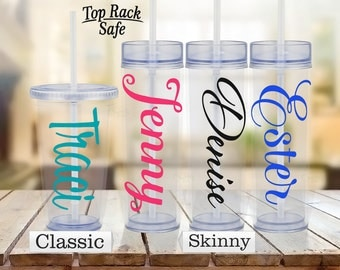 Personalized Tumbler - Personalized Cup - Name Cup- Name Tumbler- Personalized Mug- Insulated Double Walled- Skinny Clear Tumbler -Drinkware