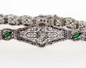 14K Diamond and Emerald Bracelet