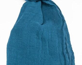 Blue 100% linen scarf, linen scarf, flax scarf, spring scarf, blue scarf, linen shawl, blue shawl, linen wrap, blue scarf, unisex scarf