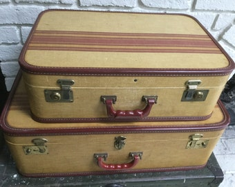 40's Pair of Vintage Suitcases Antique Gold/ Red Stripe Luggage Display Prop
