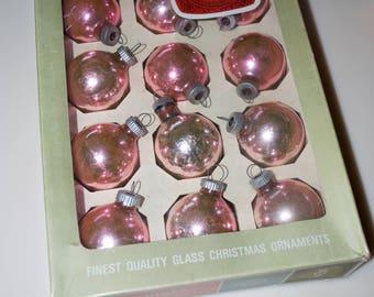 "Vintage Shiny Brite Pink Christmas Ornaments Glass Balls Box 1.75"""