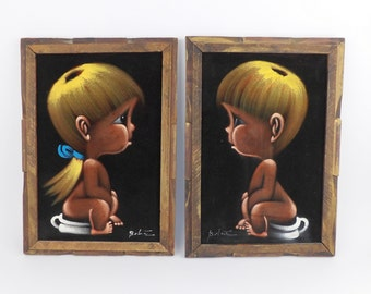 Velvet Paintings Big Eye Eyed Children Kids Mid Century Modern 1960's Framed Art Artwork Bathroom Decor Chamber Pot Toilet Baby Nursery
