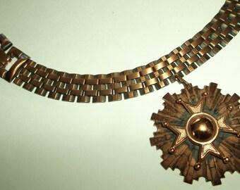 Vintage Copper Book chain Necklace Pendant.