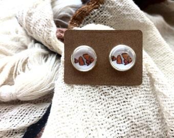 Clown Fish Earrings, Nautical Earrings, Beach Jewelry, Hipster Earrings, Gifts under 5, Nautical Jewelry, Fish Jewelry, Stud Earrings