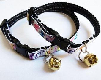 Adjustable breakaway cat collar, my little pony with gold coloured bell in adult or kitten sizes.
