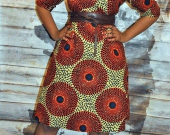 African print classic shirt dress with belt.
