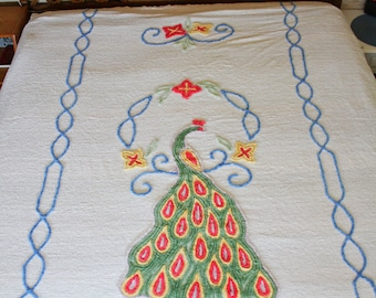 Chenille Bedspread Peacock King Bed Cover Vintage Linens