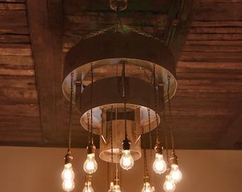 Rustic Industrial Chandelier - Steel Tiered Chandelier w/Bulbs  #L1016