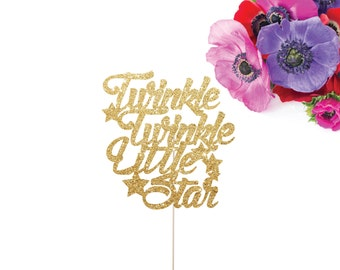 Twinkle Twinkle Little Star Cake Topper,  Glittery Cursive with star accents (cute party supplies, baby shower party, simple decorations)