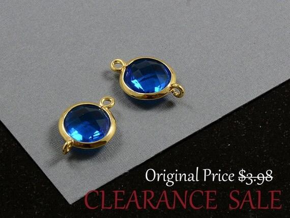 SALE - Capri Blue Framed Glass Bezel Round Connector 12mm x 17mm in Gold Plating - 2 pcs/ order