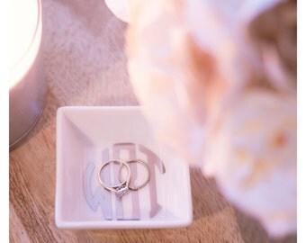 Monogrammed Porcelain Ring Dish