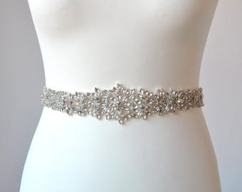 Long Bridal Crystal Sash Wedding Dress Sash Belt, Rhinestone Sash Bridal Bridesmaid Sash Belt, Wedding dress sash All The Way Around
