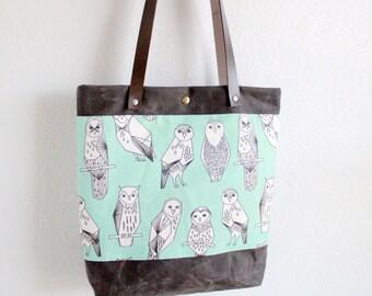 tote bag mint green owls