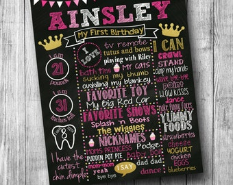 Pink and Gold Princess Crown Birthday Chalkboard Poster Pink Princess First Birthday Chalkboard Poster First Birthday Cupcake Poster Girl