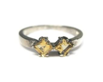 Vintage Sterling Princess Cut .50 Carat Citrine Ring Size 9