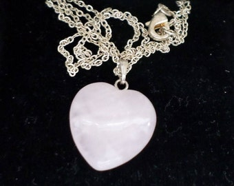 Lavender Jadeite Heart Pendant on an 18 Inch Sterling Silver Trace Chain