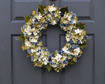 Beautiful Blended Blue Hydrangea Wreath | Summer Wreaths | Front Door Wreaths | Outdoor Wreaths | Door Decor