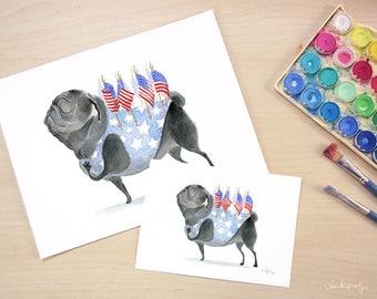 Patriot Pug art print - Patriotic decor with black pug, American flag art, Americana patriotic Art, black Pug art print by Inkpug