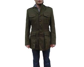 Vintage US Marine Corps service jacket blazer coat surplus khaki military olive uniform USMC dress