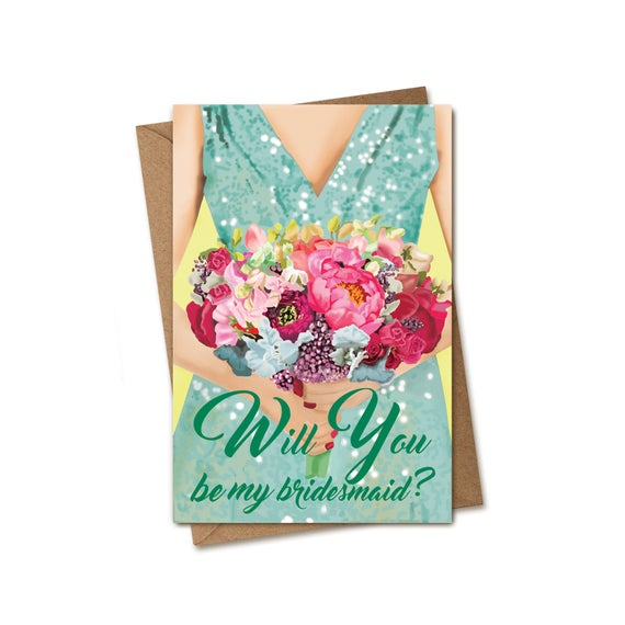 Will You Be My Bridesmaid Card. Bouquet.