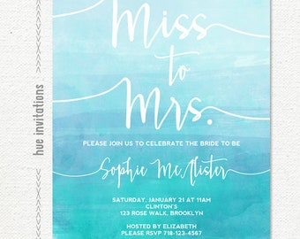 bridal shower invitations, miss to mrs. blue watercolor bridal shower invitation, ombre gradient customized printable digital invitation
