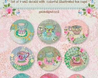 Set Of 9 Wall Decals- Colorful Tea Cups Wall Stickers