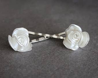 White Hair Pins, White Bobby Pins, White Rose Hair Pins, White Rose Bobby Pins, Rose Bobby Pins, Bridal Hair Pin, White Flower Hair Pin