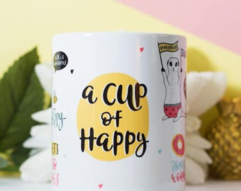 Motivational Mug, A Cup of Happy, mug gift, inspirational quote
