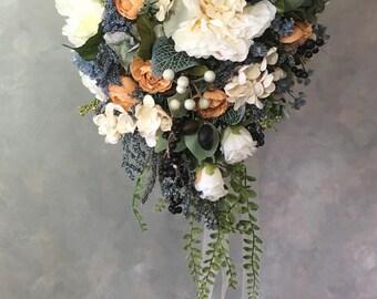 SILK bridal WEDDING bouquet Ivory/Blue cascading
