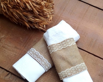 Burlap and Lace Napkin Holder - Burlap Napkin Holder - Burlap Napkin Ring Holder - Wedding Napkin Holder  - Rustic Table Decor - Choose Qty