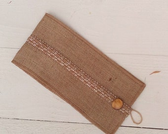 Burlap Tie Backs - Curtain Tie Backs with Trim - Burlap Drape Tie Backs - Rustic Home Decor - Hessian Tie Backs - Set of 2