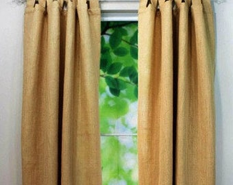 "Tab Top Burlap Curtain - Tab Top Burlap Drape -  Colored Tab Top Burlap Curtain Panel - 38"" Wide - One Panel - Rustic - Choose Size"