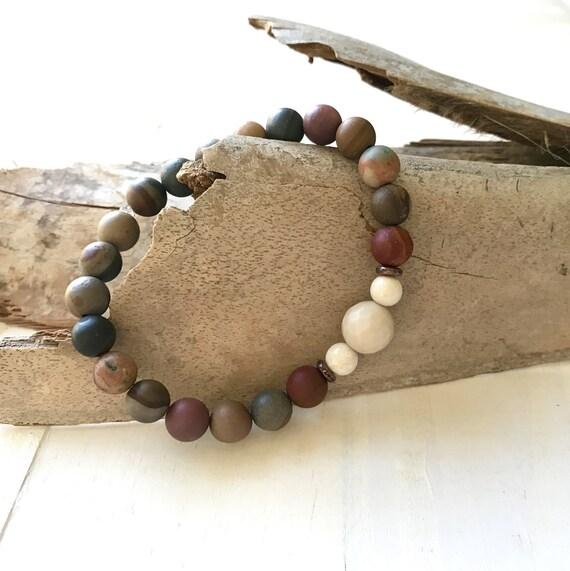 Energize Your Aura Mala Bracelet, Landscape Jasper Bracelet, Yoga Jewelry, Bohemian Style Bracelet, Match Your Mala Bracelet