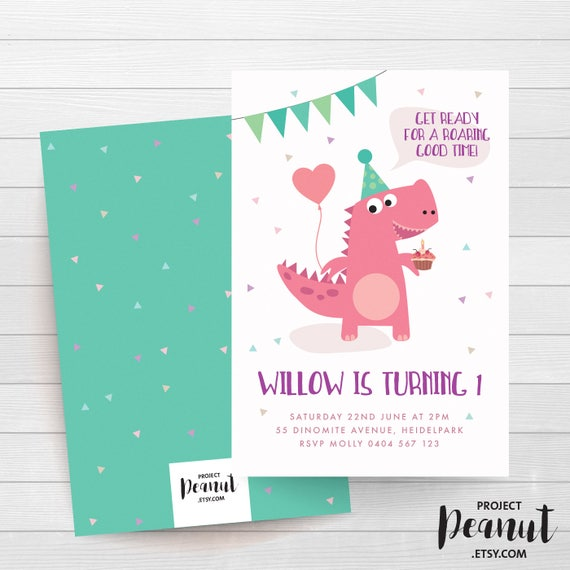 Girl Dinosaur Dinosaur Invitation Dinosaur Party Pink Dinosaur