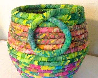 Batiked Fabric Wrapped and Coiled Pot basket