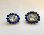 Reserved for RosemarysPlace: Two Paste Glass Crystal/Sapphire Brooches