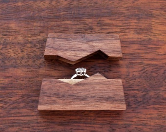 """Ring box  """"The Mountain"""", made from black walnut wood - engagement ring box - proposal ring box - Made to order"""