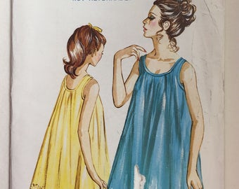 1960's Vintage Kwik Sew Pattern 214 Ladies' Nightgown Sizes S,M,L uncut