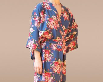 Blue robe, blue bridesmaid robes, blue kimono, blue bridesmaid dress, blue floral robe, blue floral dress