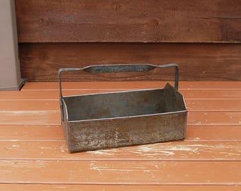 Tin Basket, Vintage Tinware Handled Box, Metal Planter Box, Gathering Basket, Rustic Storage Basket, Flower Basket