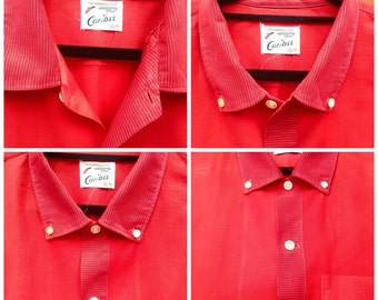 Vintage 1950s Mid Century Red Long Sleeved US American men's shirt from Memphis. Very Rockabilly, Elvis style