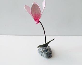 Flower art, original art, mixed media, handmade, pink,pebble, made to order,pop art, office decor