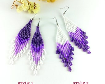 Purple wedding earrings Purple bridesmaid gift earrings Violet earrings Elegant earrings Purple earrings Sister Gift|For|Her Dangle earrings