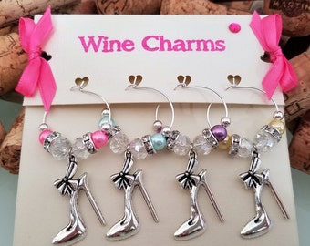 SALE!  Shoes Wine Glass Charms, Girls Party Wine Charms, Gift for Shoes Shopaholic, Unique Shoes Gift for Her, Handmade by LasmasCreations.