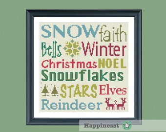 christmas cross stitch pattern, christmas words, PDF, DIY ** instant download**